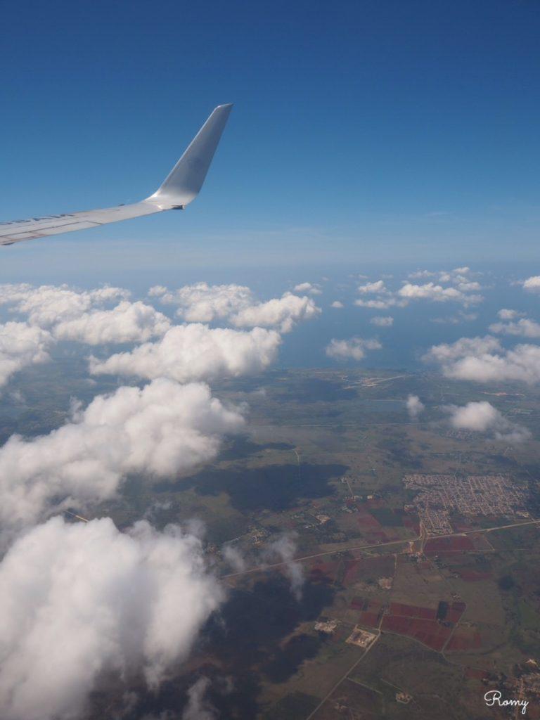 ハバナからカンクンへの飛行機から見た景色