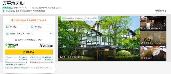 TripAdvisorの万平ホテルページ