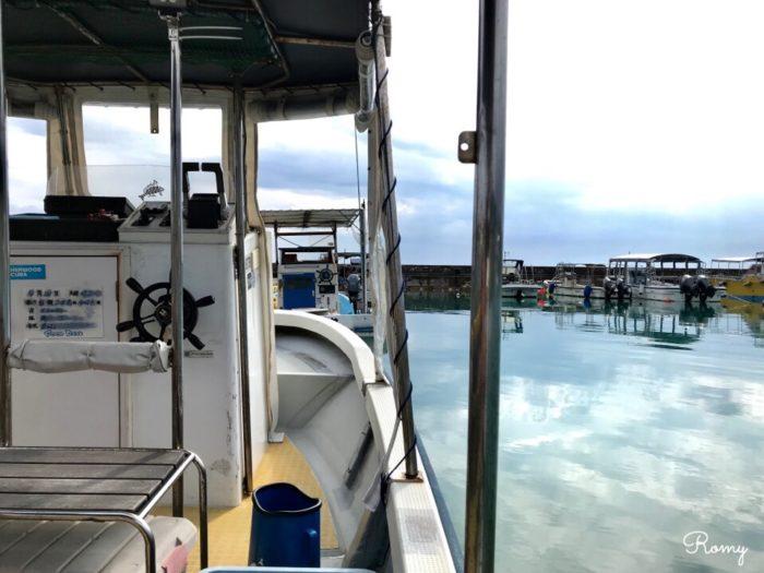西表島の上原港のボート