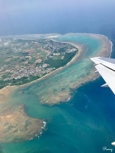 ANA機内から見た石垣島
